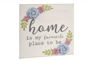 Grey Floral Home Plaque richard lang