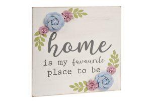Grey Floral Home Plaque richard lang