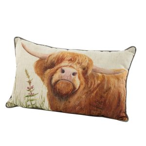 Highland Cow Cushion - Looking Up - richard lang
