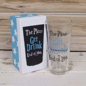 The Plan Get Drunk End of Plan Glass In Box - The Bright Side