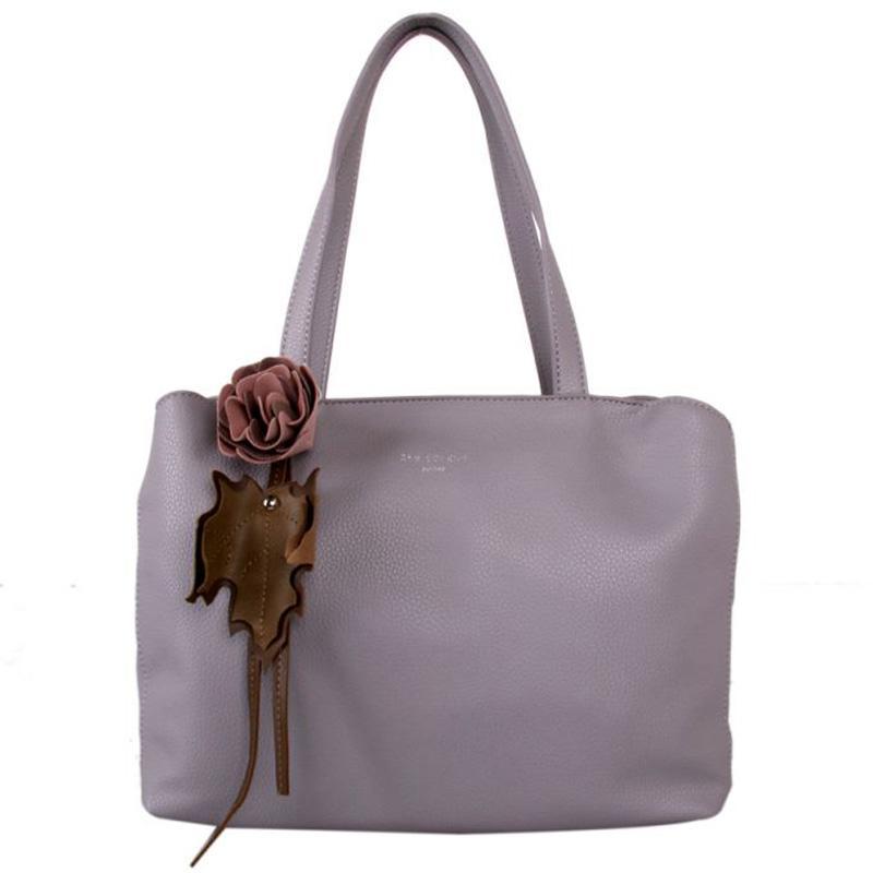 Red Cuckoo - 388 - Silver Lavender Flower Detail Grab Bag Shoulder Bag