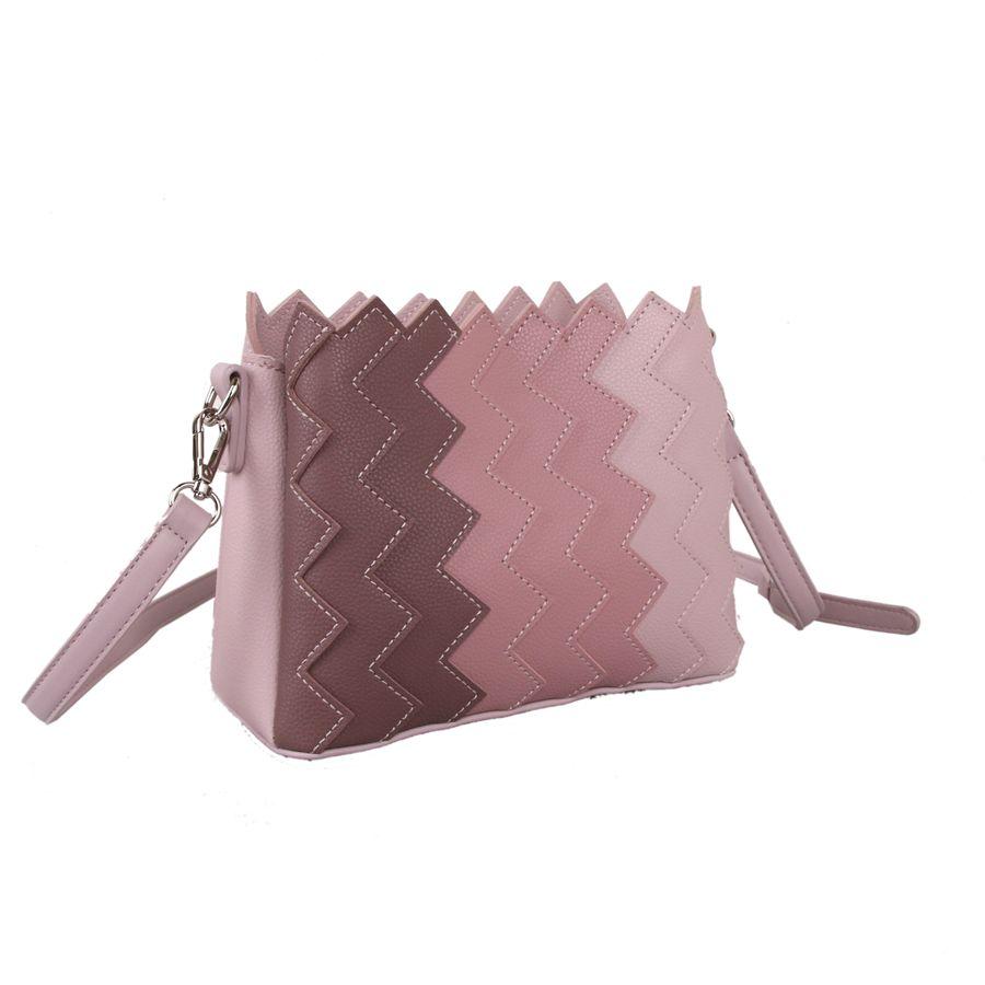 Red Cuckoo - 649 - Pink Cross Body Bag With Vertical Zig Zag Gradient Effect