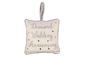 Diamond Wedding Anniversary Cushion Hanger, 18x18cm