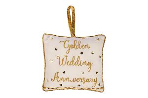 Golden Wedding Anniversary Cushion Hanger, 18x18cm