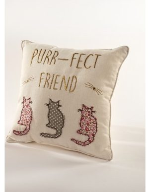 Purr-Fect Friend Square Floral Embroidered Cat Cushion