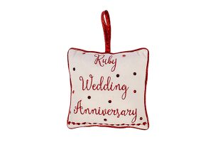 Ruby Wedding Anniversary Cushion Hanger, 18x18cm