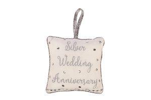 Silver Wedding Anniversary Cushion Hanger, 18x18cm