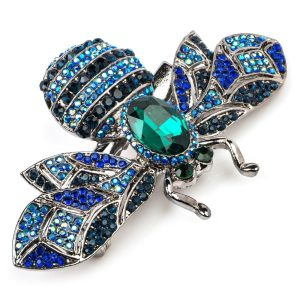 Rosie Fox Blue Crystal Bumble Bee Brooch and Hair Clip