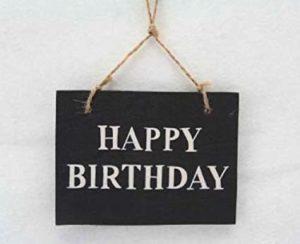 Gisela Graham - Black and White Happy Birthday Hanging Sign, 11 x 8 cm