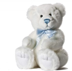 Icicle the White Teddy Bear with Blue Ribbon, 11 inch - Aurora World