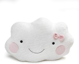 GUND Large Happy Cloud Cushion With Pink Bow