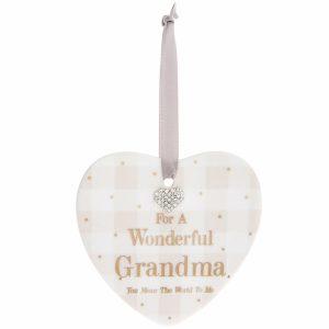 Mad Dots 'Wonderful Grandma' Ceramic Heart Hanger