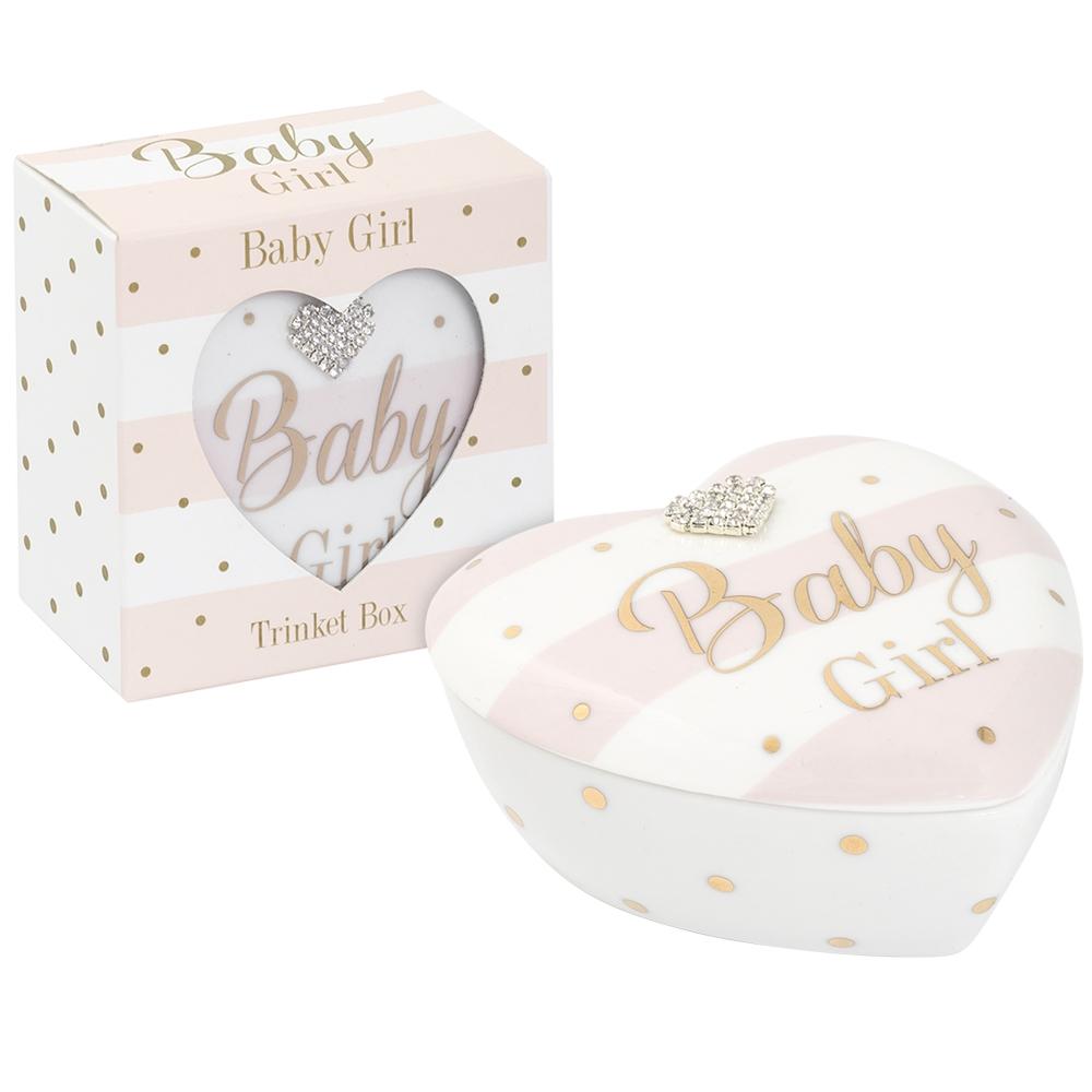 Mad Dots Baby Girl Ceramic Heart Shaped Keepsake Box