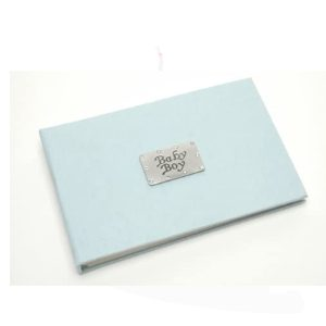Baby Boy Blue Pocket Photo Album with Pewter - Metal Planet