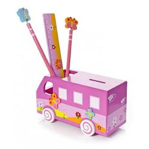 Mousehouse Pink Camper Van Money Box and Pencil Holder Gift