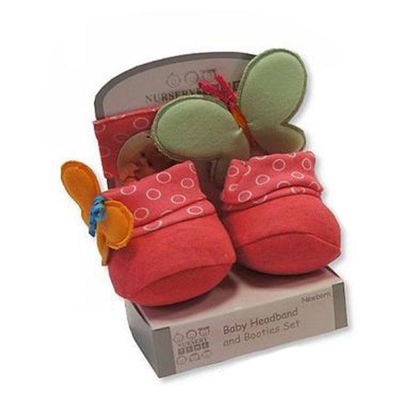 Nursery Time Newborn Baby Girl Headband and Booties Gift Set
