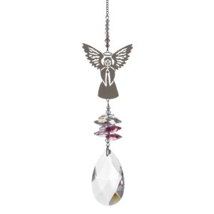 Large Crystal Fantasy Pink Guardian Angel Hanging Swarovski Suncatcher