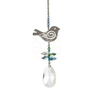 Crystal Fantasy Blue and Green Songbird Hanging Swarovski Suncatcher