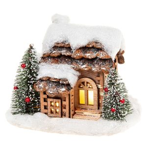 Snowy Pine LED House Cottage Christmas Decoration, 18 x 17 cm - Shudehill