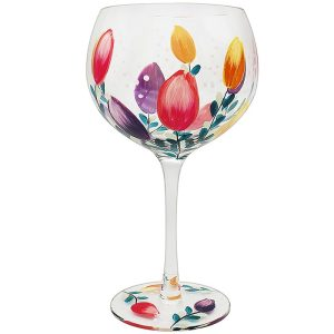 Hand Painted Tulips Flower Gin Glass