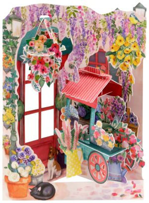 Santoro Florist and Flower Cart 3D Pop-Up Swing Card - Greetings and Birthday Card