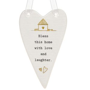 'Bless This House With Love and Laughter' Ceramic Heart Hanging Plaque - Thoughtful Words