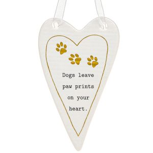 'Dogs Leave Paw Prints On Your Heart' Ceramic Heart Hanging Plaque - Thoughtful Words