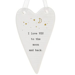 'I Love YOU to the Moon and Back' Ceramic Heart Hanging Plaque - Thoughtful Words