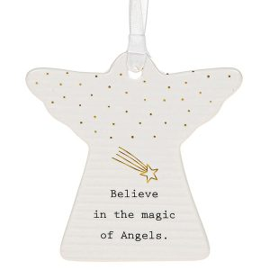 'Believe in the Magic of Angels' Ceramic Guardian Angel Hanging Plaque - Thoughtful Words