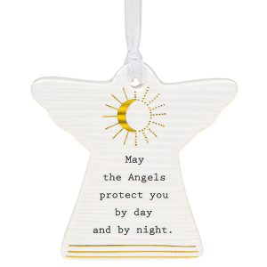 'May The Angels Protect You By Day And By Night' Ceramic Guardian Angel Hanging Plaque - Thoughtful Words