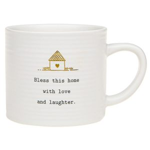 'Bless This Home With Love and Laughter' Ceramic Mug - Thoughtful Words