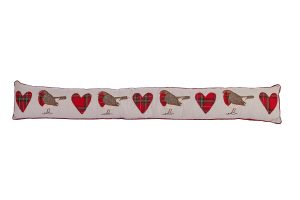 Embroidered Robin Tarten Heart Draught Excluder - Langs