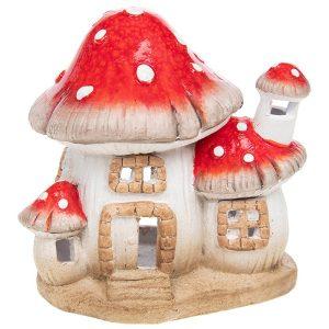 Medium Ceramic Magic Mushroom House Tea Light Holder, 16 x 15 x 11 cm - Shudehill Gifts