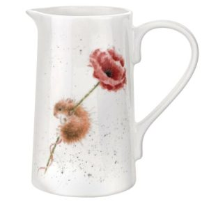 Mouse and Poppy 2 Pint Ceramic Jug - Wrendale Designs