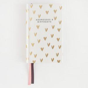 Gold Heart Small Address and Birthday Book - Caroline Gardner