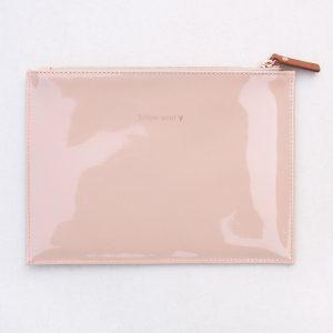 Caroline Gardner 'Follow Your Heart' Pink Nude Patent Slogan Pouch Bag