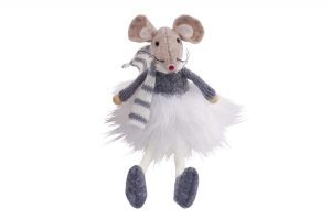 Sitting Mouse with Grey Striped Scarf - Langs