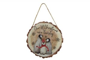 'Our 1st Christmas as a Family' Penguin Hanging Plaque - Langs