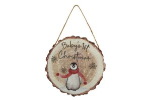 Baby's 1st Christmas Penguin Hanging Decoration - Langs