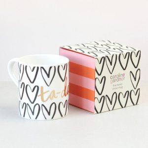 Tah Dahh Hearts Boxed Bone China Mug - Caroline Gardner