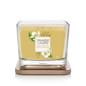 Yankee Candle Elevation Collection - Jasmine and Sweet Hay - Medium 3-Wick Square Candle