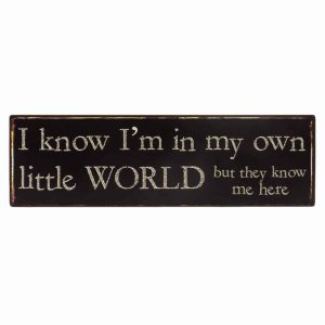 'I Know I Am In My Own Little World But They Know Me Here' Metal Sign - Heaven Sends