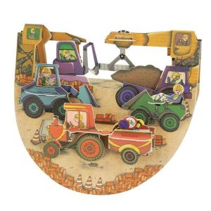 Santoro Tractors and Diggers Popnrock 3D Pop-Up Card - Greetings and Birthday Card