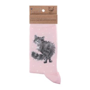 'Glamour Puss' Pink Cat Socks - Wrendale Designs