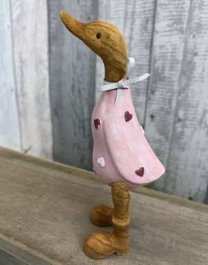 Small Pink Standing Resin Duck with Hearts - Langs