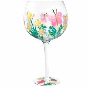 Hand Painted Pink Butterfly Flower Gin Glass