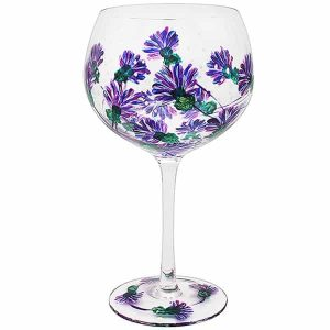 Hand Painted Thistle Flower Gin Glass