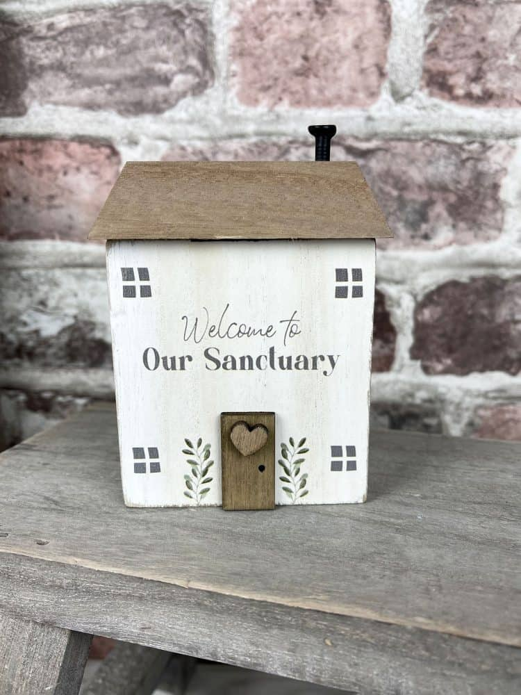 Welcome To Our Sanctuary Wooden House Block Ornament - Langs