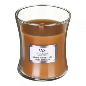 WoodWick Caramel Toasted Sesame Medium Hourglass Candle, 275g