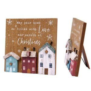 May your home be filled with love and warmth at christmas 3D House Easel Plaque - Langs